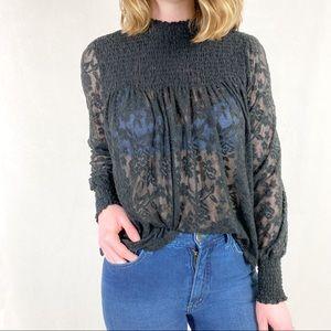 Anthro Deletta | Amanna Lace Top Black Floral Lace